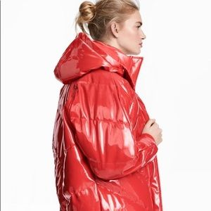 H&M red puffer bubble jacket